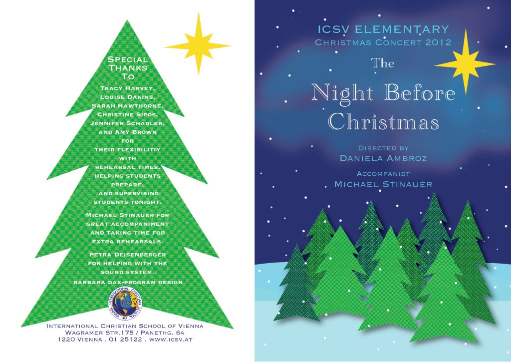 IcsvS Elementary  Christmas Concert Program  Programming