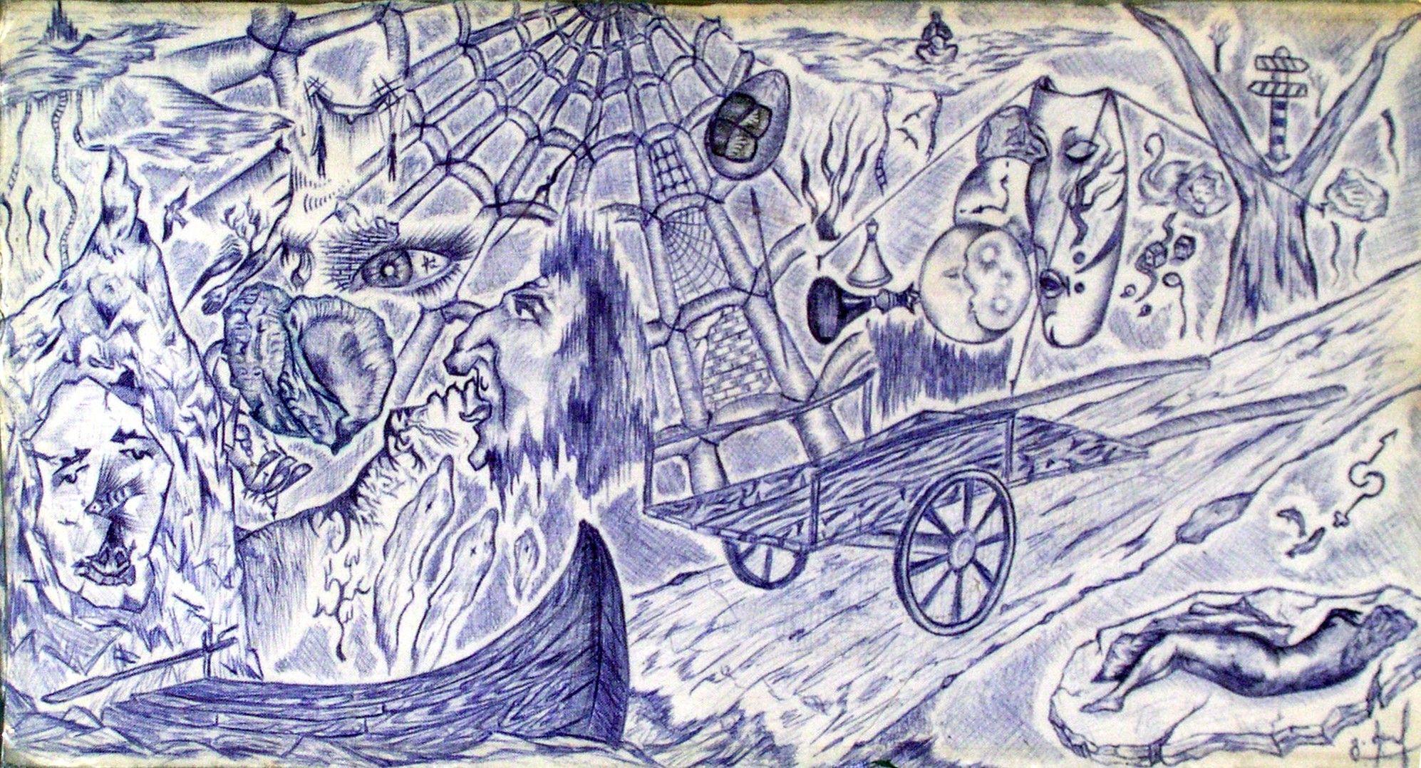 Art Galleri Gocha Medzmariashvili (Mego) შესრულებულია ტილოზე პასტით.(მიტკალი, ბიაზი)Performed on the canvas with a ballpoint pen.