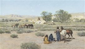 Artwork by Henry Francis Farny, Indian Encampment, Made of gouache on paper kp