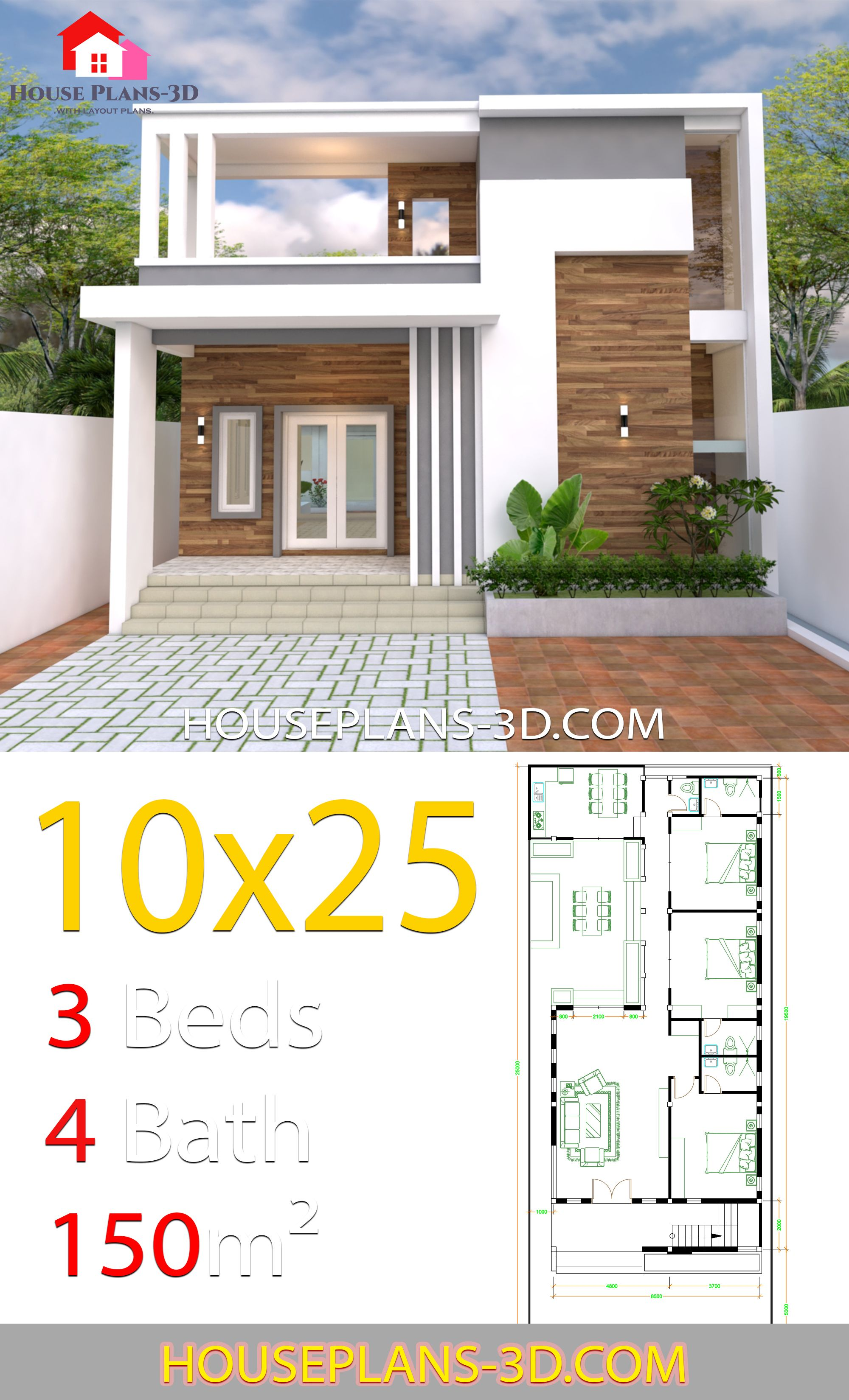 Home Design 10x25m With 3 Bedrooms