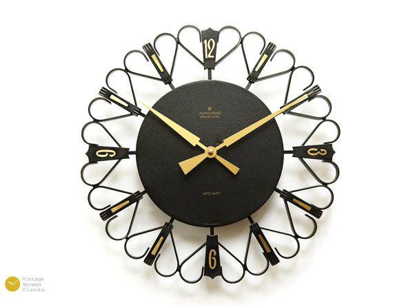 Mid Century Junghans Ato Mat Atomic Wall Clock Modern Starburst