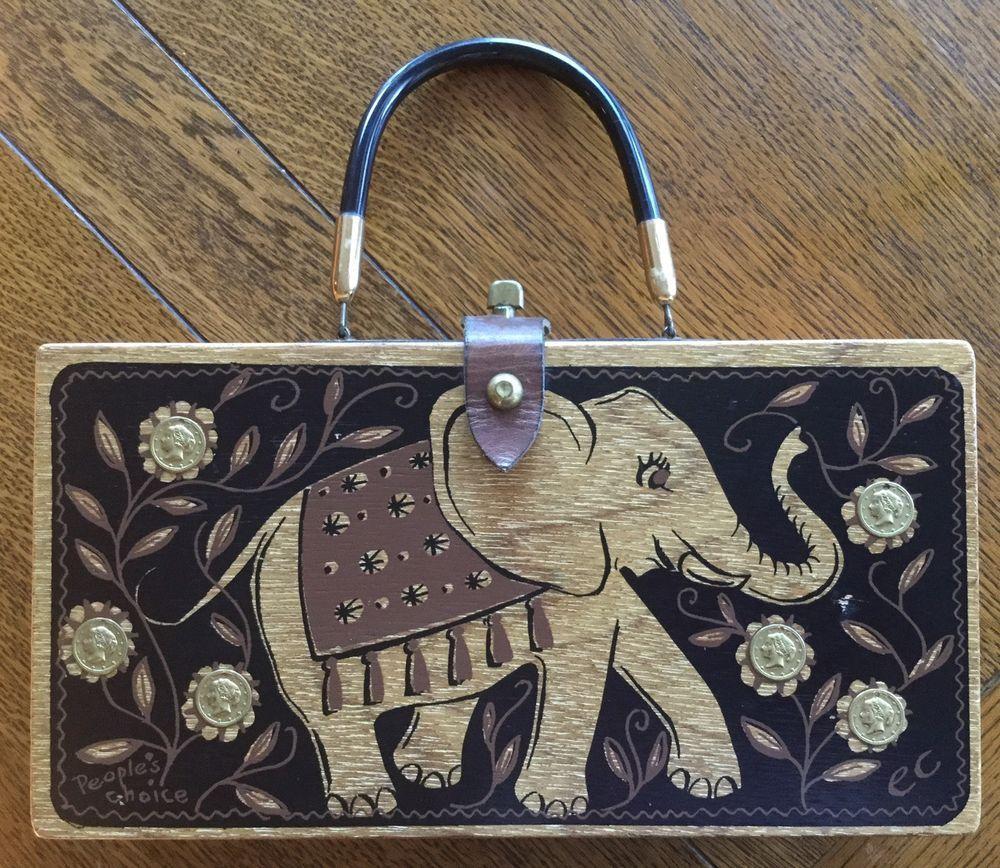 ENID COLLINS People's Choice ELEPHANT wood Purse Black Coined Jewels Mod VINTAGE #EnidCollins #Purse
