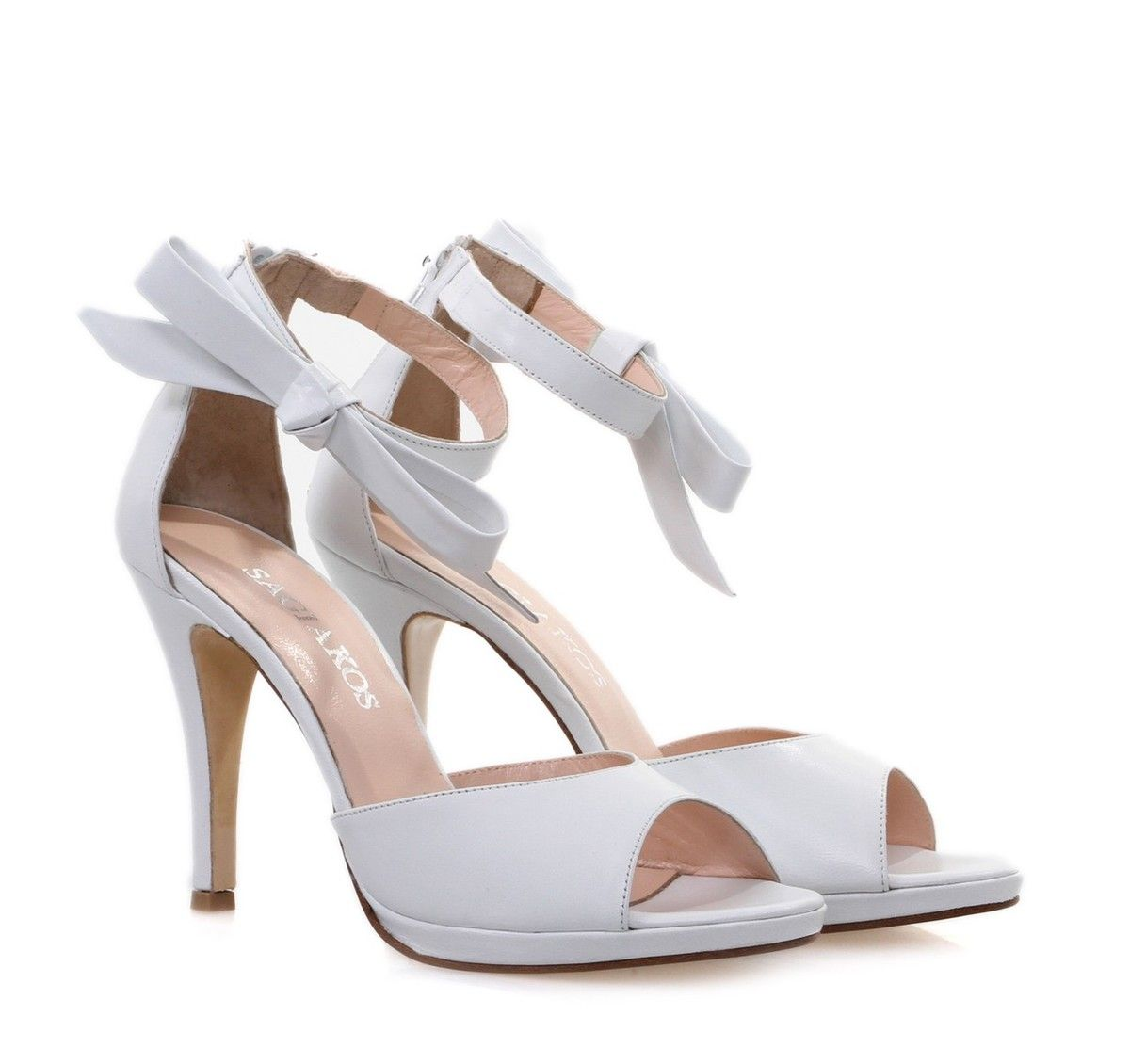 bbbb11665af SAGIAKOS White Bridal Leather Peep-toe High-heeled Sandals. Γυναικεία  δερμάτινα λευκά νυφικά