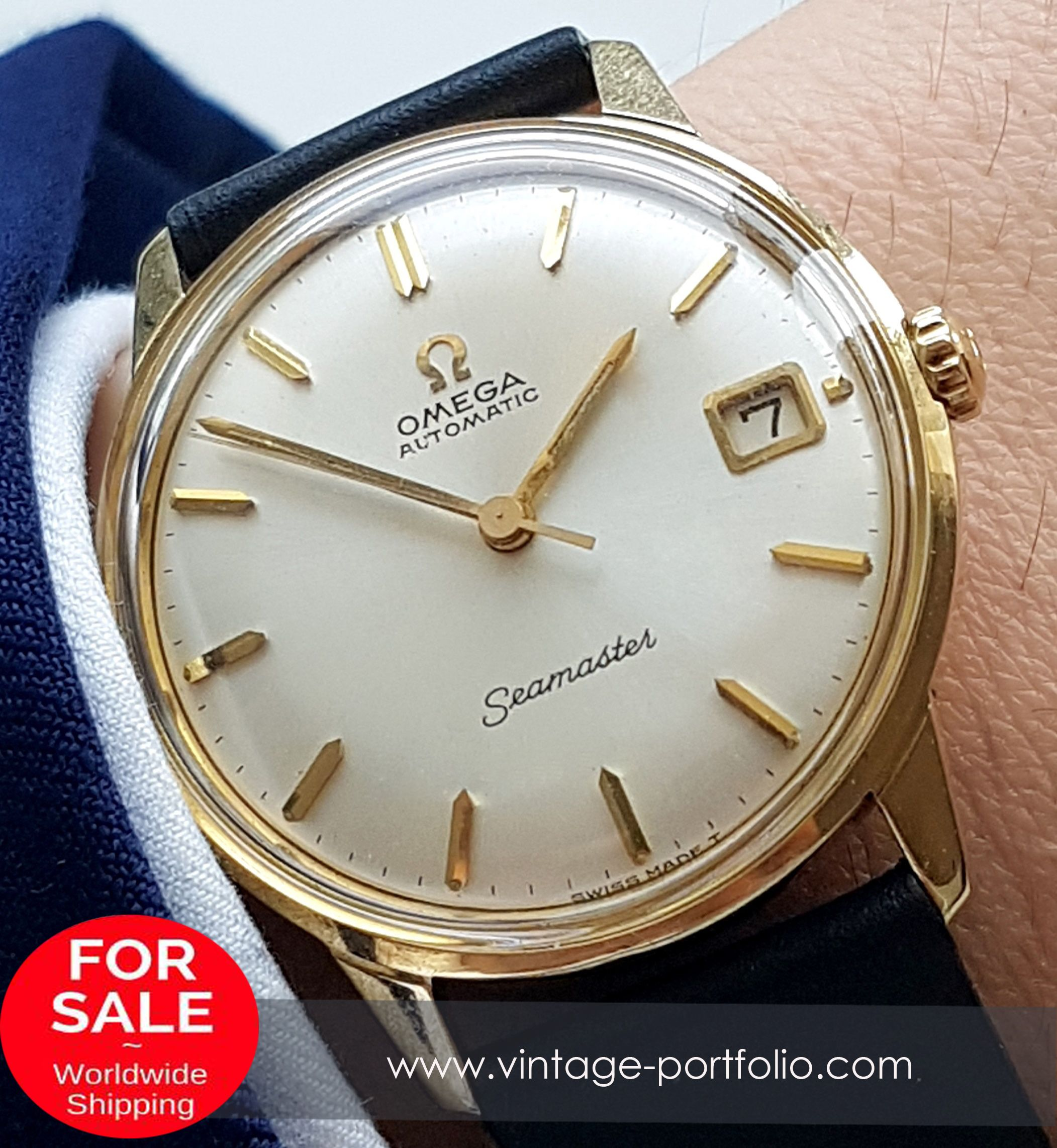 1966 Annaversary watch! Perfect Omega Seamaster Automatic Solid Gold Date 14ct #omegaseamaster #seamaster #omegavintage #vintageos