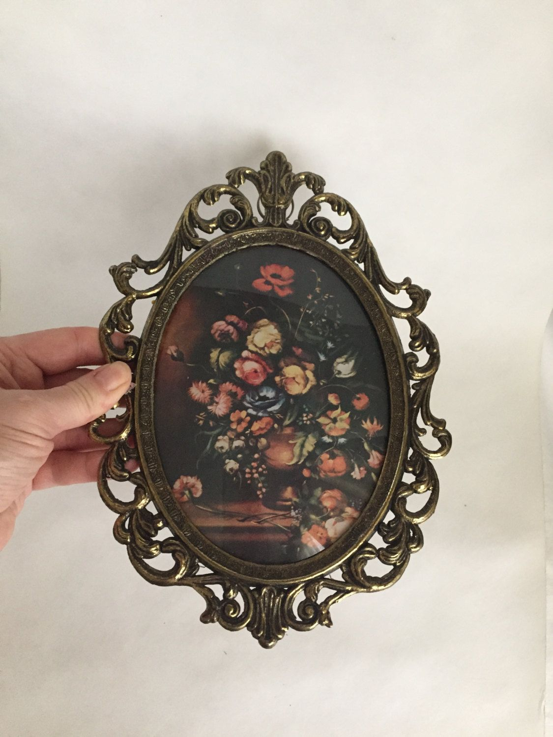 $24 Vintage Italian Wall Art Scrolled Ornate Framed Floral Wall Decor Made  In Italy Decorative Bouquet Of Flowers Wall Decor Vintage Wall Decor By ...
