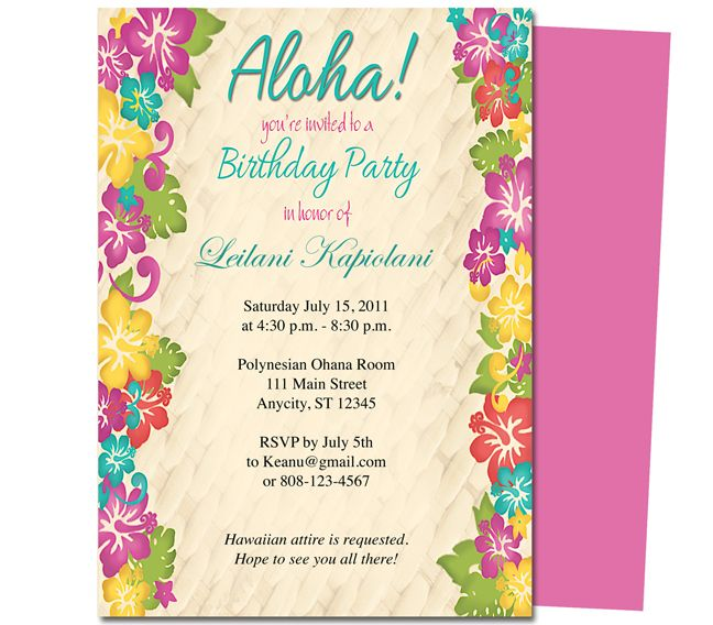 Invitation For Birthday Essay. First birthday invitation wording and invitations college graduate  sample resume examples of a good essay introduction dental hygiene cover letter General Birthday Aloha Hawaiian Hibiscus Invitation