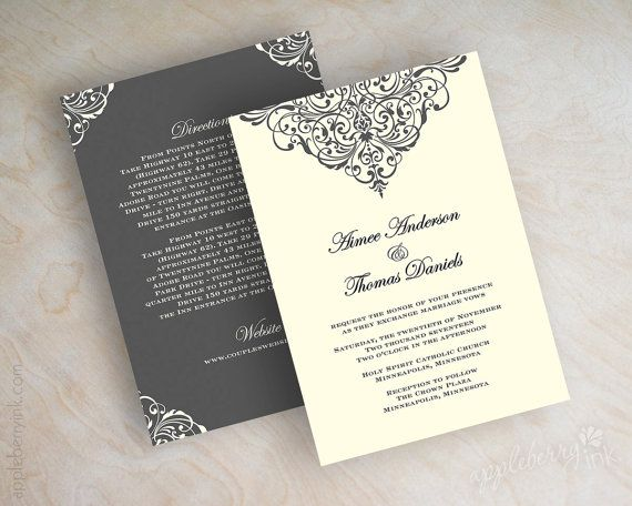 vintage filigree wedding invitation, formal, victorian wedding, Wedding invitations