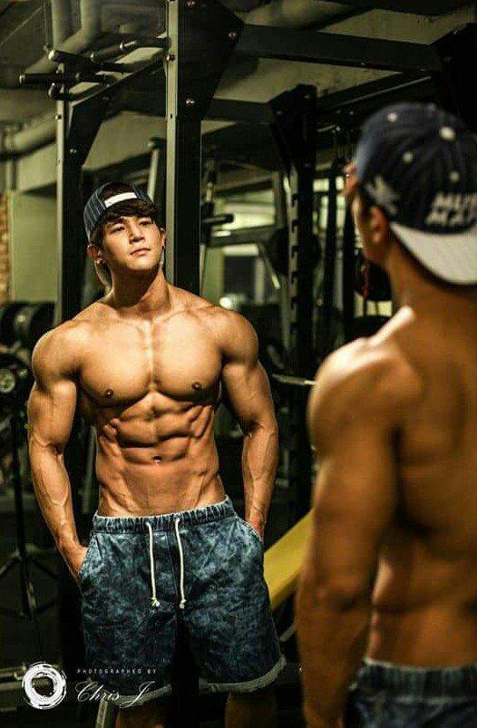 Asian man muscular lick