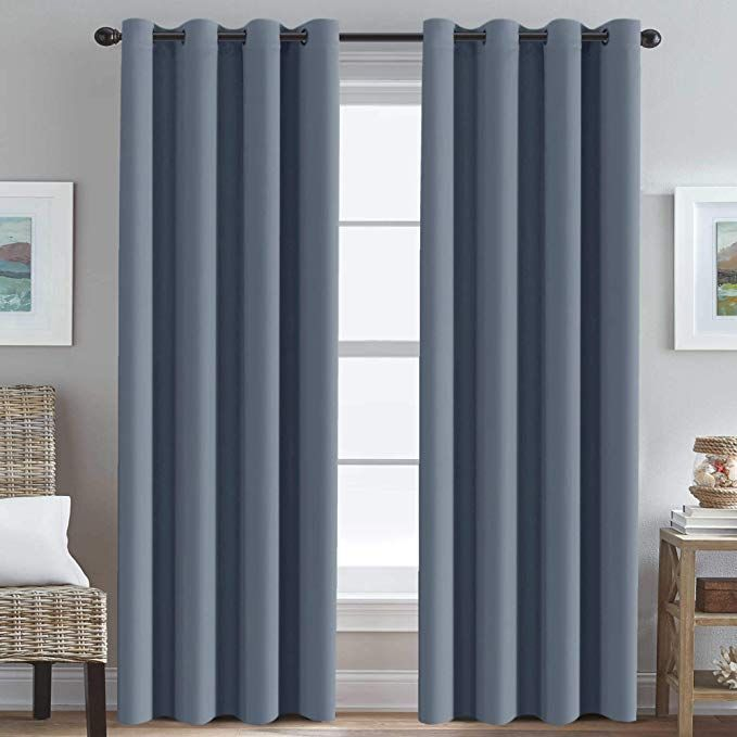 Grommet Bedroom Blackout Curtain Thermal Insualted Blackout Curtain for Living Room Window Treatment Long Curtain for Patio Door, Christmas Holiday Window Curtain (1 Panel, Stone Blue, 52