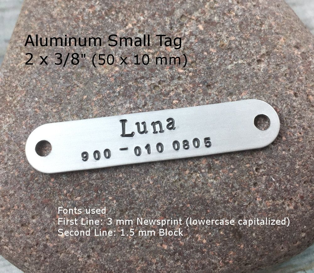 Aluminum Personalized Small Metal Tag Hand Stamped Custom Name Plate