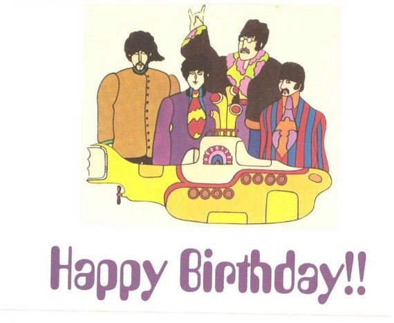 Beatles Birthday Music Card The Beatles Yellow Submarine Birthday