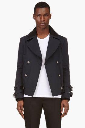 Balmain Navy Hybrid Pea Coat Biker Jacket for men | SSENSE