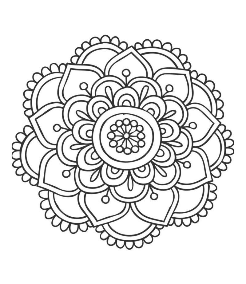 Easy Lotus Mandala Coloring Page With Images Easy Mandala