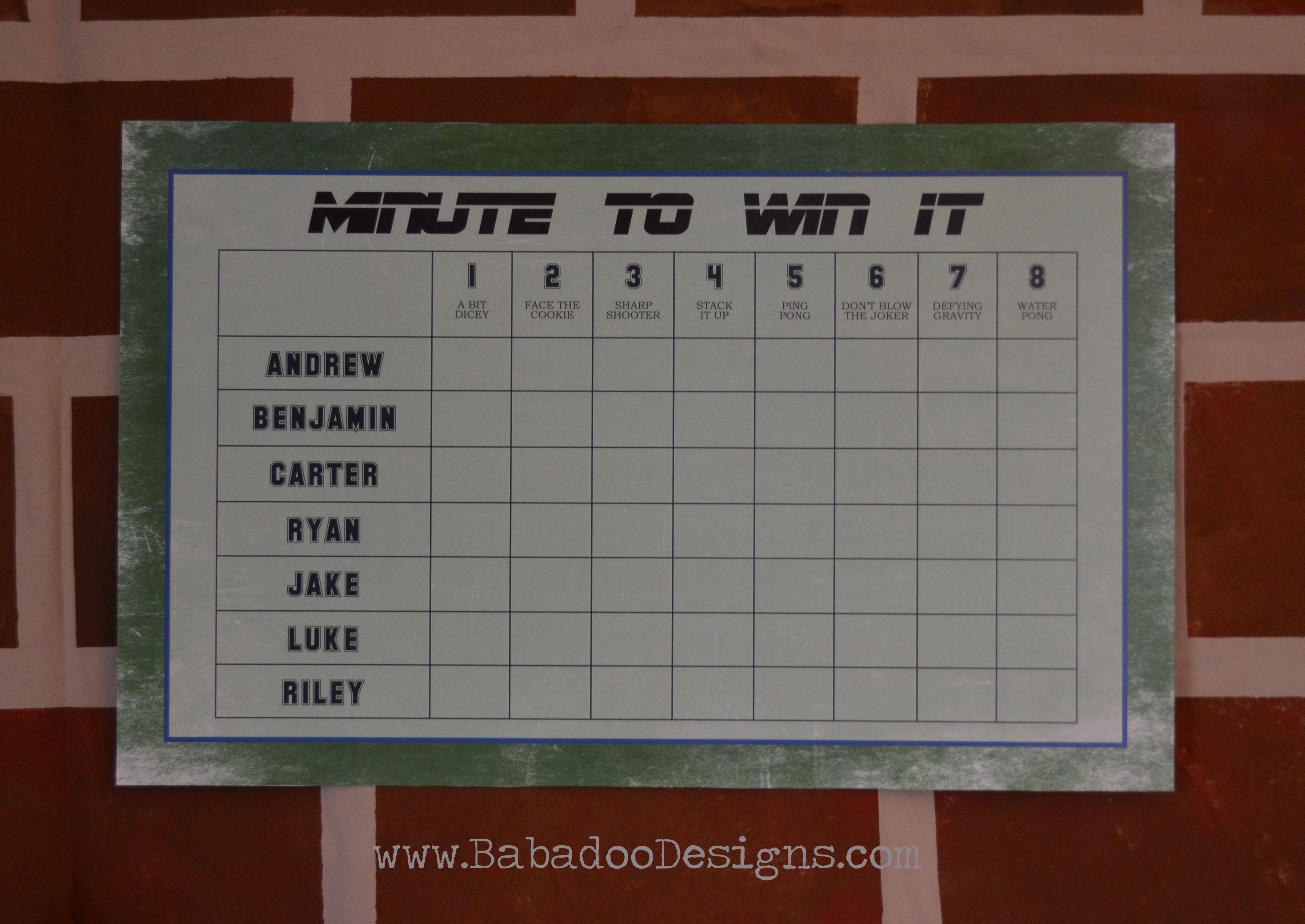 Minute To Win It Scoreboard