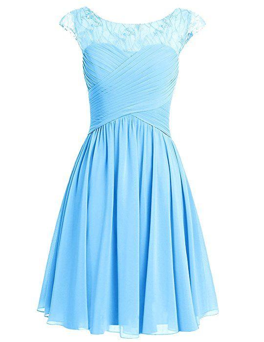 4b90a050203 Dresstells Damen Kurz Jugendlich Brautjungfernkleider Abiballkleider Blau  Größe 32 Festliche Kleider