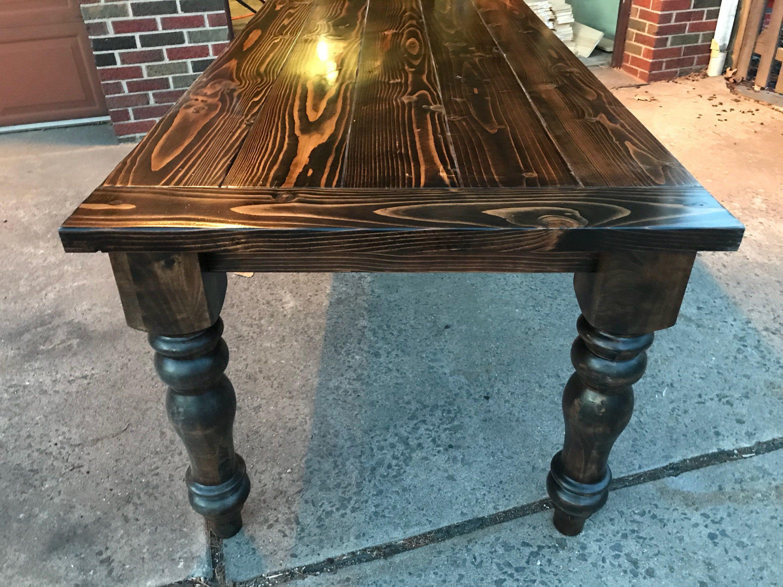 Farmhouse dining table with chunky legs rustic farmhouse