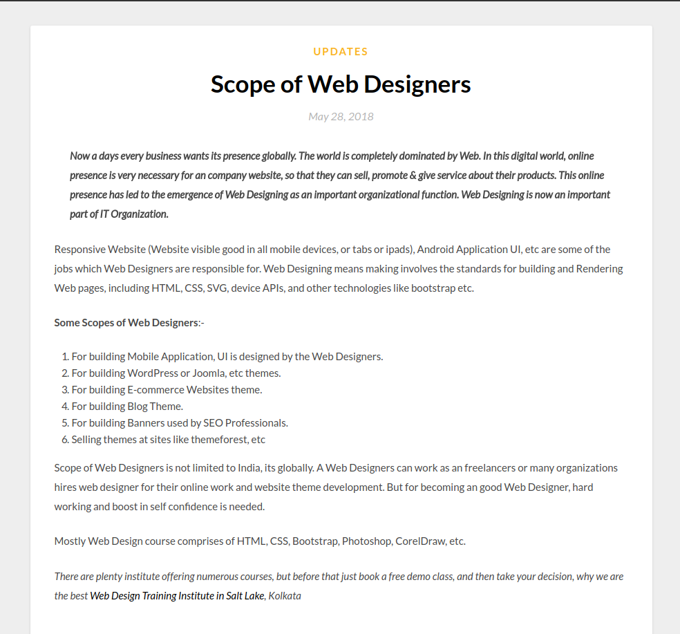 What Is The Scope Of Web Designers A Article Tried To Clear All Doubts Related To The Scope Of Web Designing Field Web Design Design Fields Design