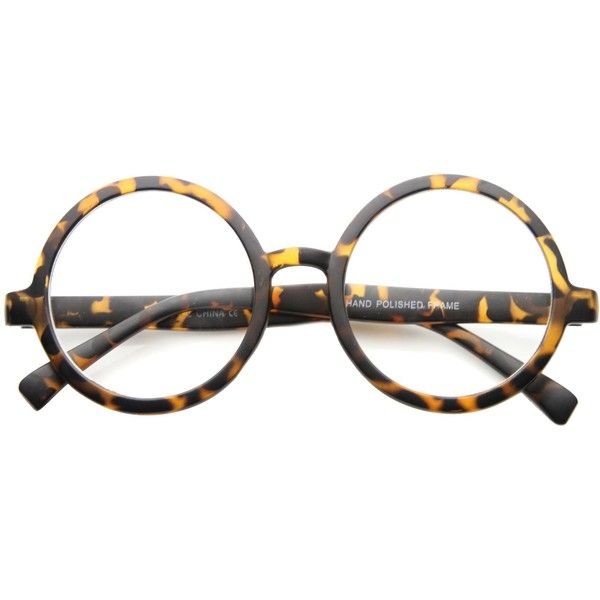 fac85da72 Retro Round Spectacles Clear Lens Glasses 8034 (€9,21) ❤ liked on Polyvore  featuring accessories, eyewear, eyeglasses, circle glasses, oversized  eyeglasses ...