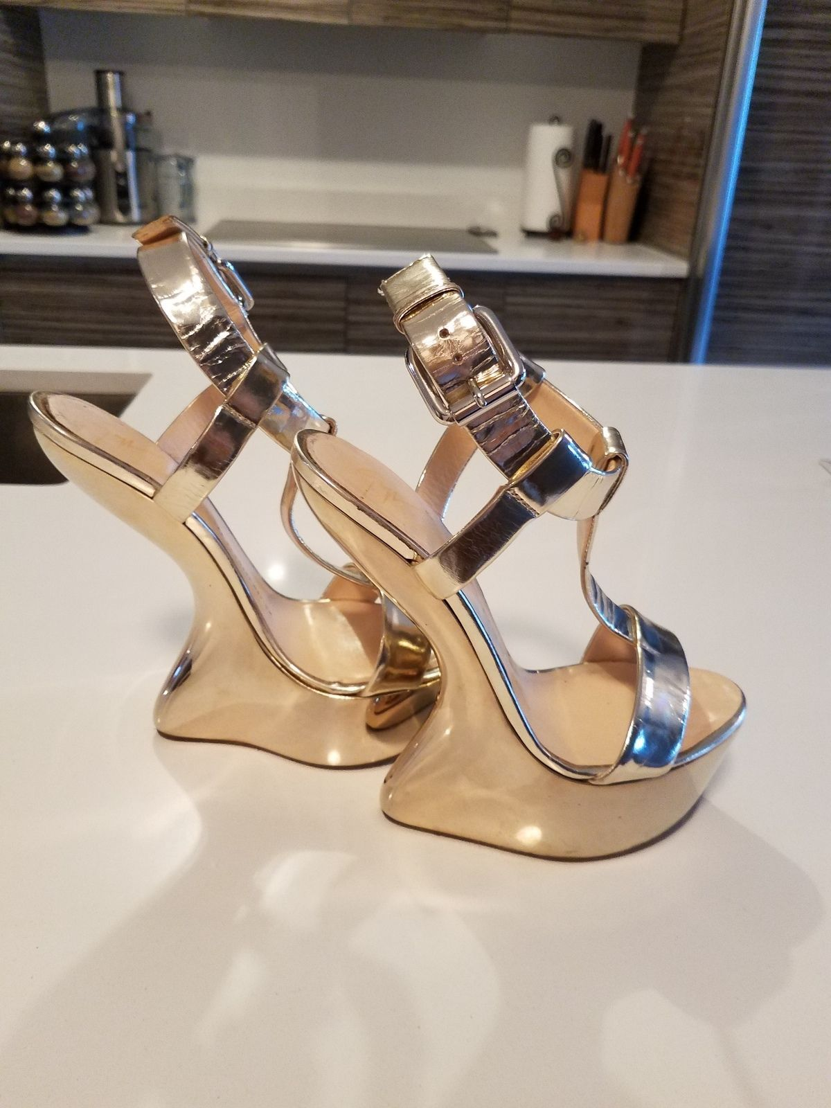 19f323d05529 Pre-owned Giuseppe Zanotti gold mirrored heels platform wedge sandals in  decent used condition. Size 38.5   dustbag included.