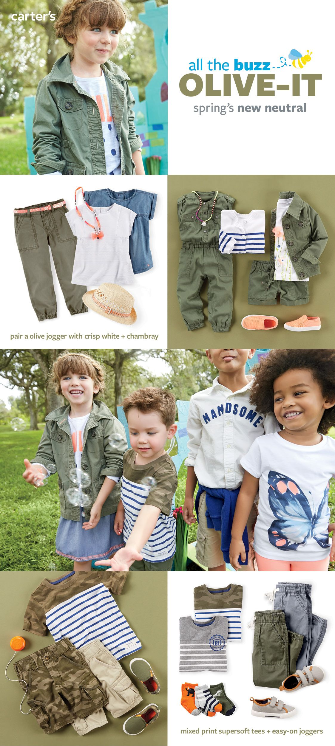 We love taking a trendy color and making it fresh and wearable for kids! We added fresh white with pops of peach to our olive utility statement for girls. And mixed the camo print cargo statement with stripes for boys. Find your favorite combination at carters.com
