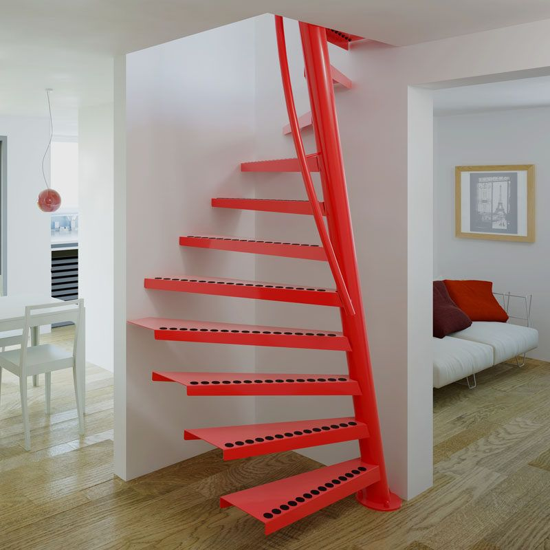 13 Stair Design Ideas For Small Spaces // This Spiral Staircase Fits  Perfectly Into A Small Corner And Curves Up To The Second Floor While  Hardly Taking Up ...