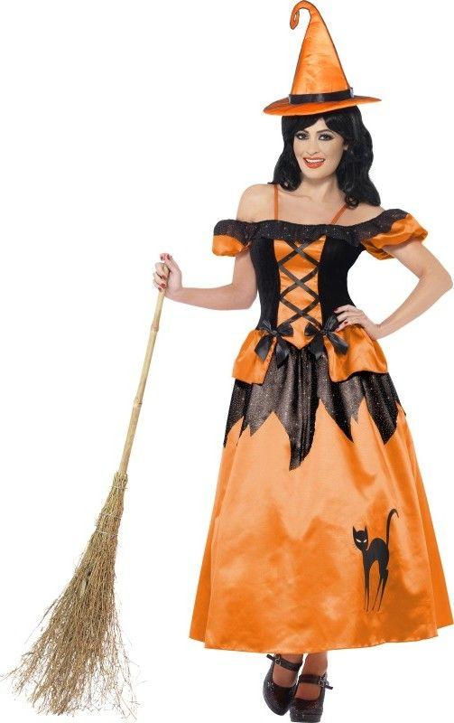 d guisement sorci re noir et orange femme halloween. Black Bedroom Furniture Sets. Home Design Ideas