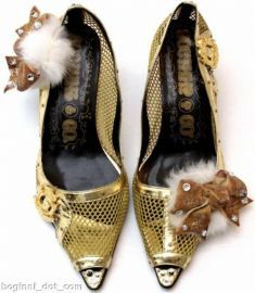 Fashionista gold digger glass crystal bow & Fur peep toe shoes