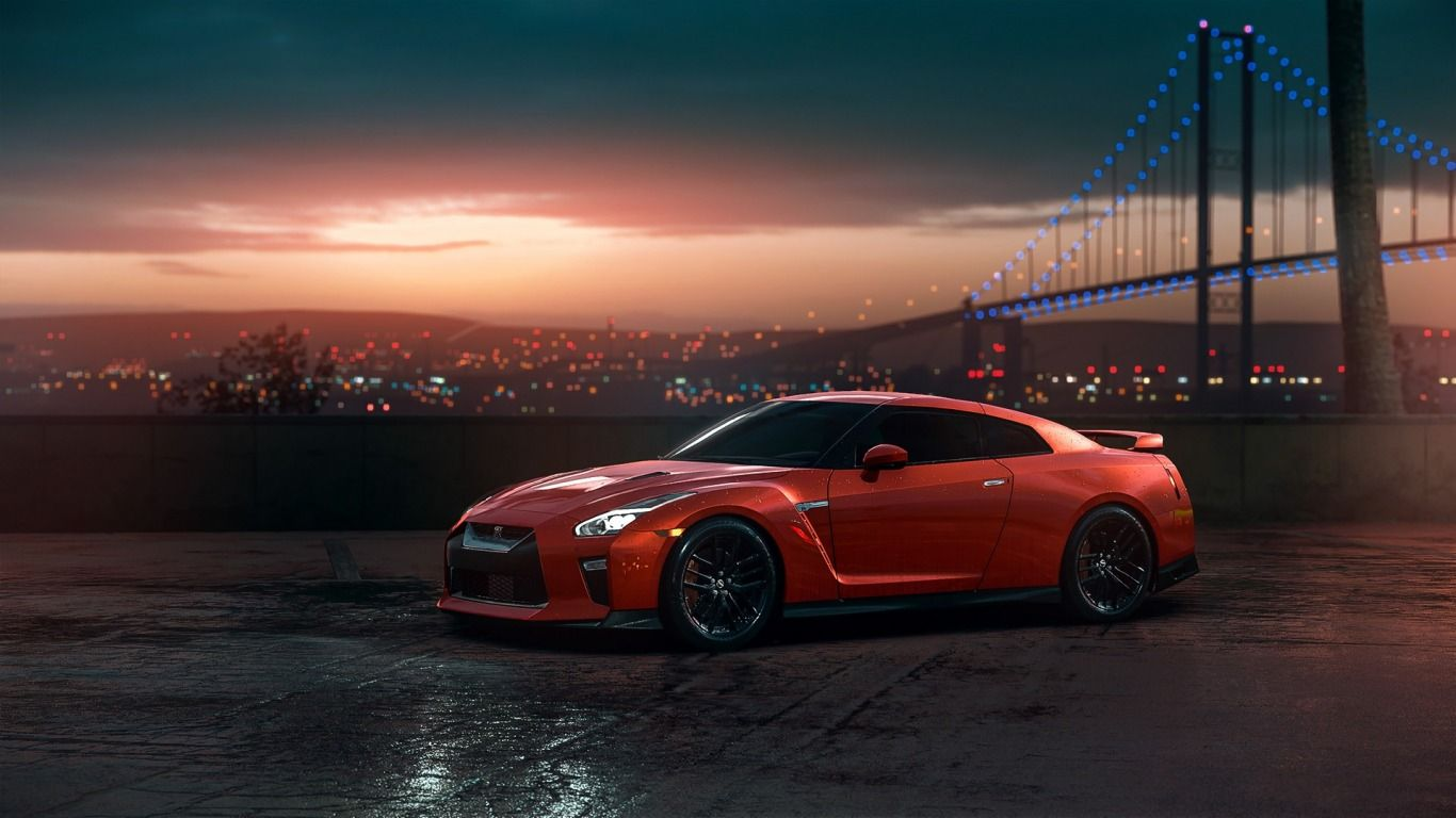 Download Wallpaper Gtr Nissan Red Car Sunset R35 View Section Nissan In Resolution 1366x768 Nissan Gtr R35 Nissan Gt Nissan Gtr