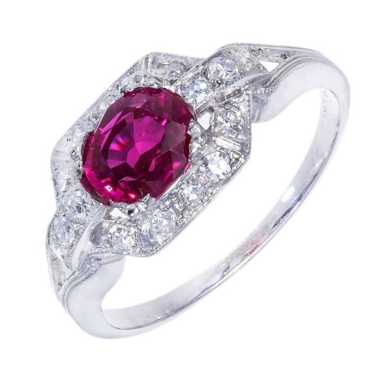Art Deco Purplish Pink Certified Burma Ruby Platinum Diamond Ring | From a unique collection of vintage more rings at https://www.1stdibs.com/jewelry/rings/more-rings/