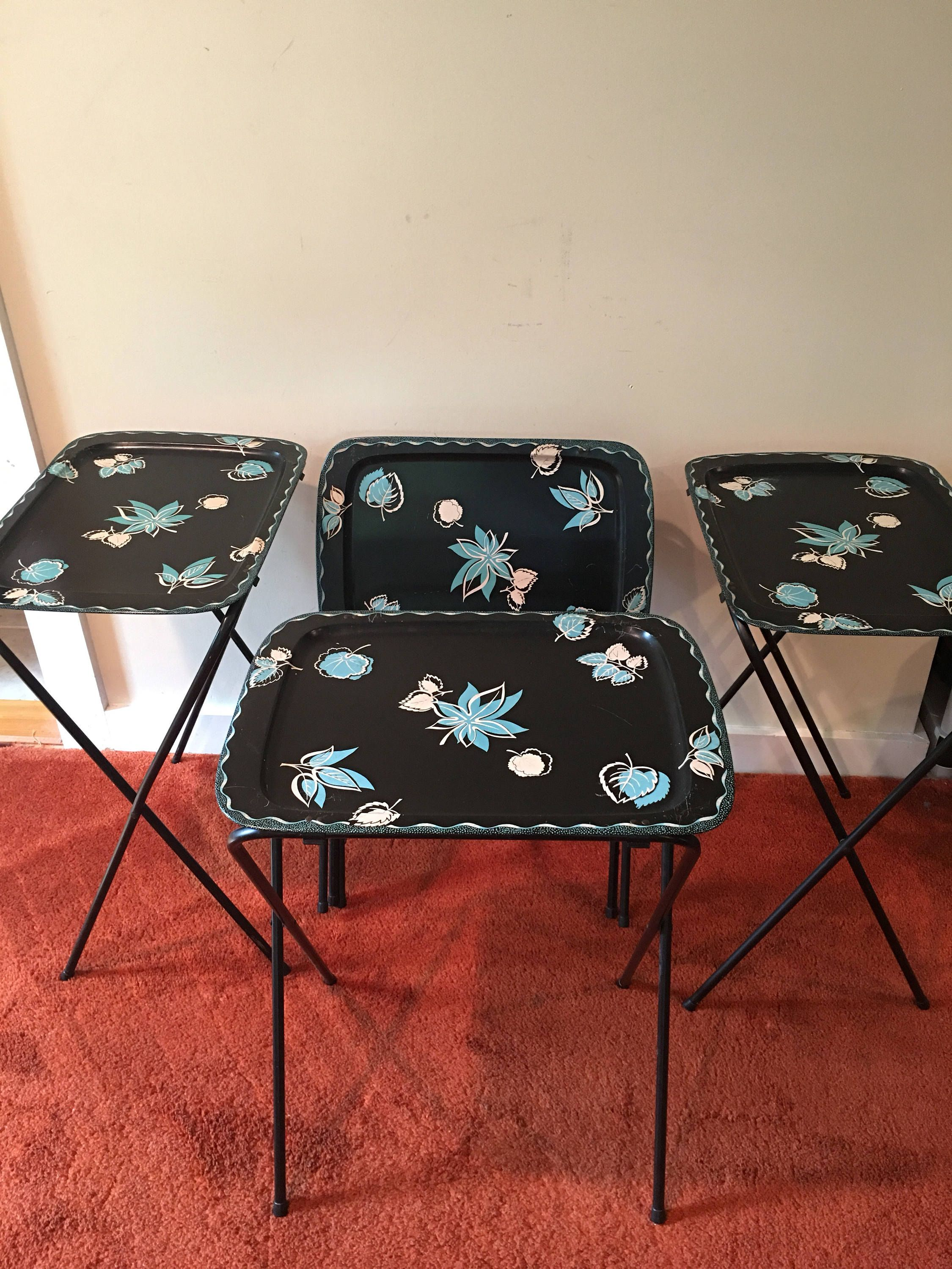 Vintage Mid Century Modern TV Tray Tables, Set Of 4, Self Contained Stand,  Folding Metal TV Trays, Black With Mod Turquoise Leaf Decoration