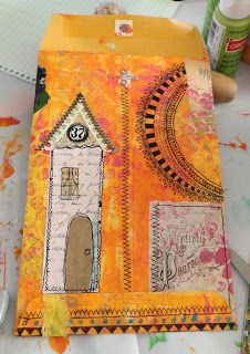 Altered envelope, back. Manila envelope, bits and pieces of paper and vintage images, acrylic paint, extra fine Sharpie markers. Tutorial on blog.