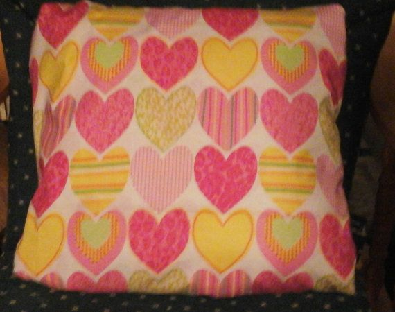 Hand-made pink yellow hearts throw pillow back by MawmaRosesCrafts