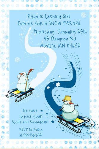 Icy Snow Party Invitation Blue White Snowman Sledding January