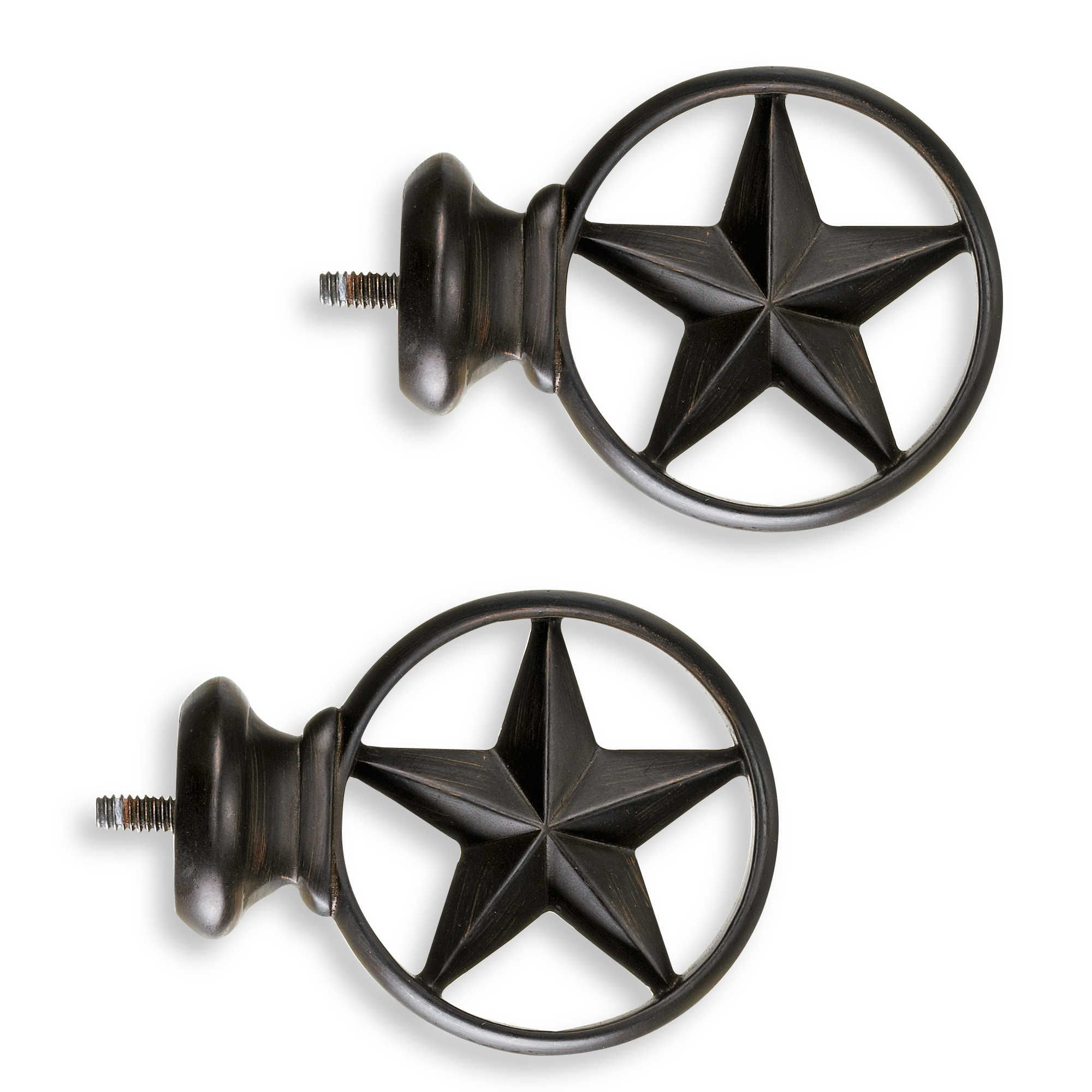 Cambria® Complete Bronze Texas Star Finials (Set of 2) | curtains ...