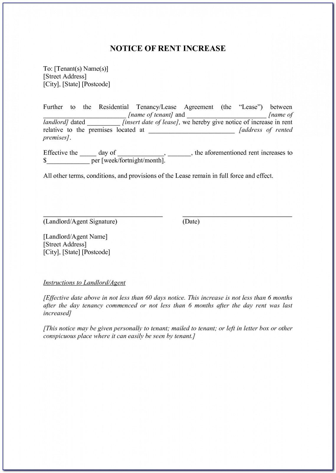 Get Our Free Notice Of Rent Increase Template Letter Template Word Lettering Professional Reference Letter