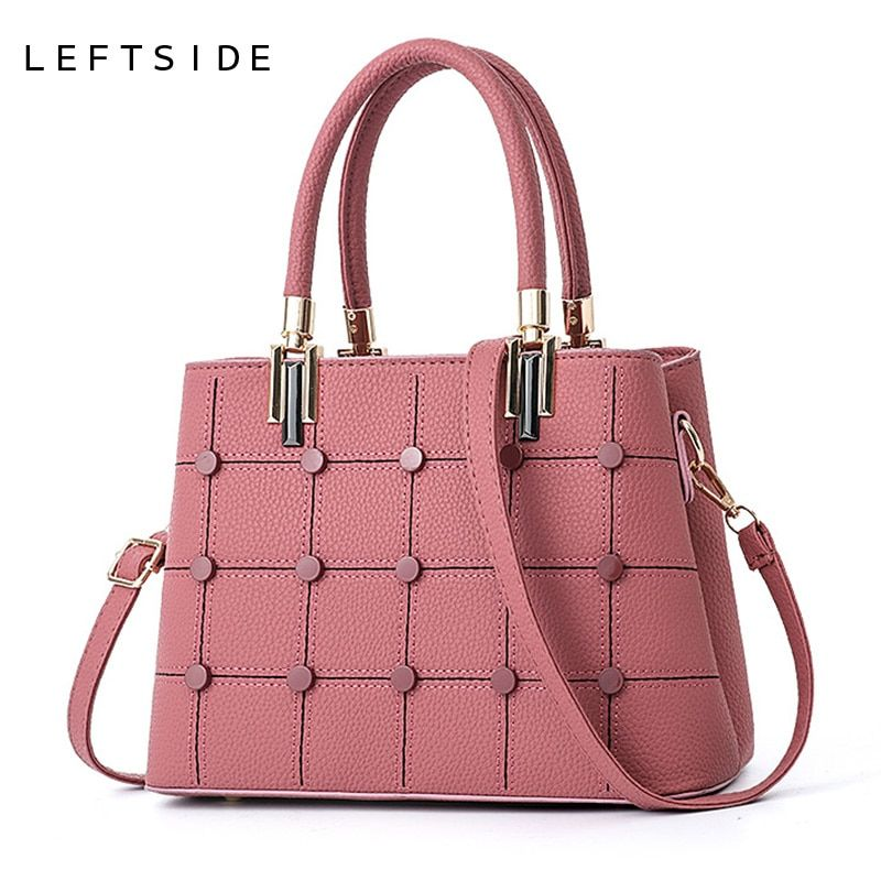 89f7890a7b LEFTSIDE Fasion Women Brand New Design Handbag Lattice Rivet Tote Bag  Female Shoulder Bags High Quality Small PU Leather Purse Review