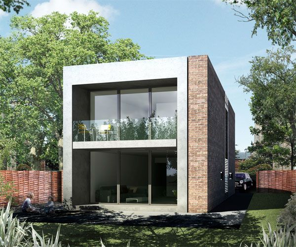 Modern prefabricated homes flat roof wide windows brick for Prefab roof