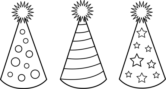 Black And White Party Hats To Color Clip Art Black And White Birthday Hat Birthday Party Hats
