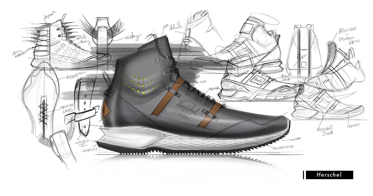 Personal project with the brief give by Benjamin Pauchet. I choose Herschel as Lifestyle brand and to match with the brand DNA, I decided to create a Hiking shoes.