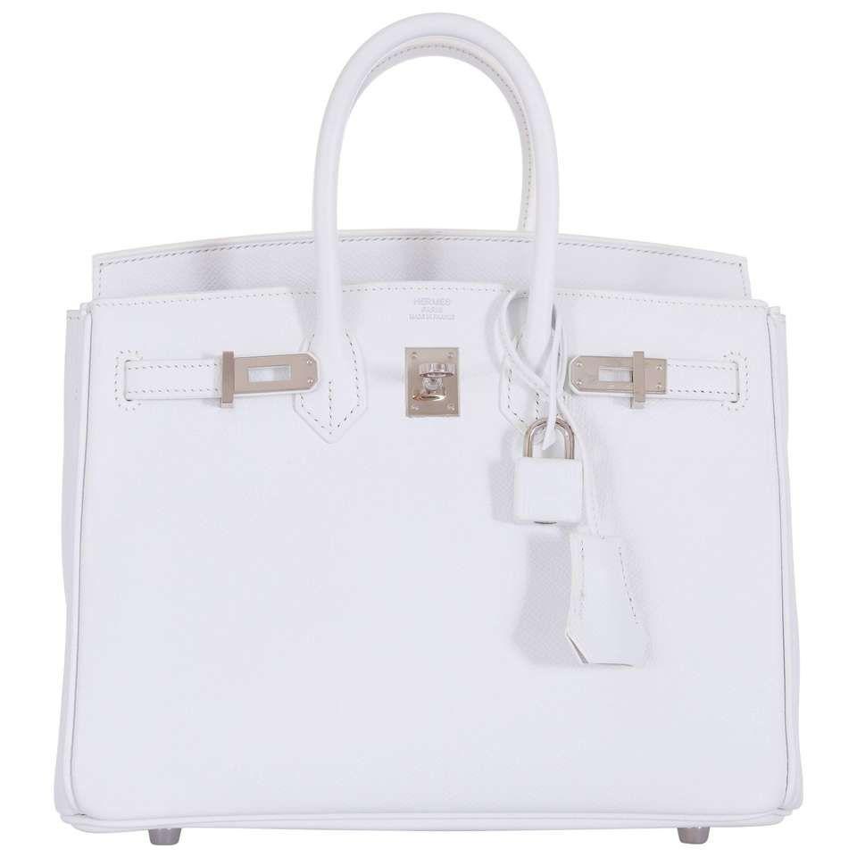 6abdc6e4adde Hermes 25cm Birkin White Epsom palladium hardware 1