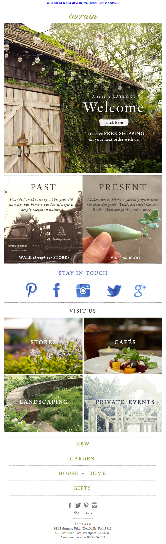 Terrain welcome email 2015 | Emails – Welcome | Pinterest