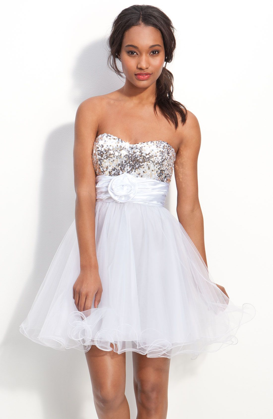 Pretty white baby doll homecoming dress prom u homecoming