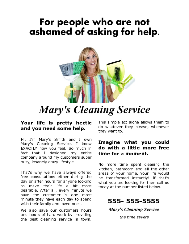 House Cleaning Flyer focused on a homeowners lack of time ...