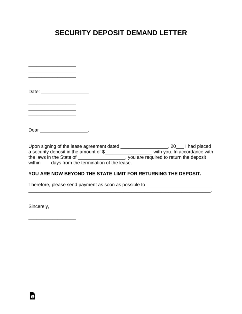 Free Security Deposit Demand Letter Template Pdf Word Eforms Free Fillable Forms Letter Templates Lettering Letter Form