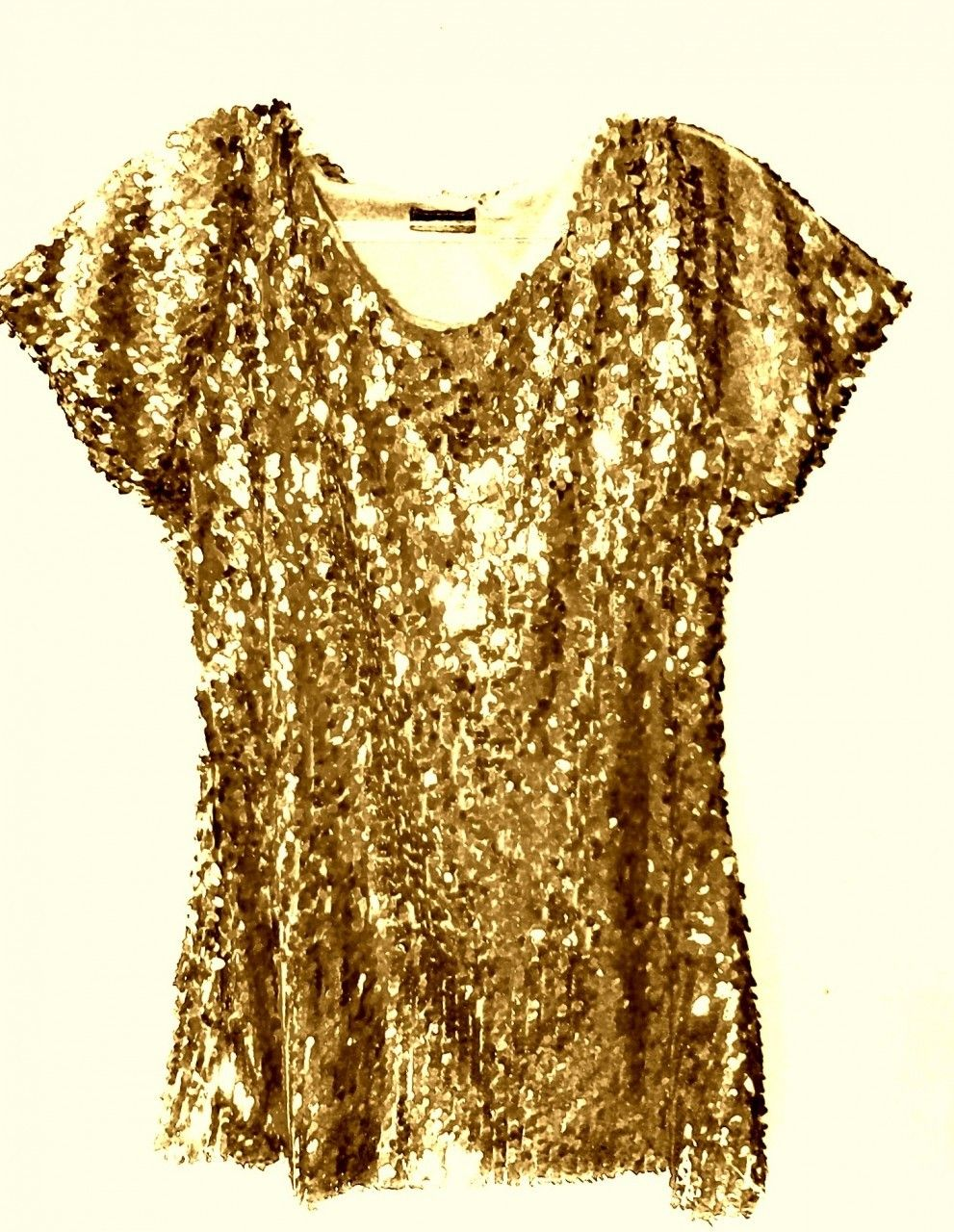 45647c61f8af9 Shop Kami Shade  - Gold Sequin Cap Sleeve Top Blouse