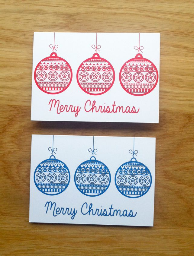 Christmas Card, retro design baubles set of 8 christmas Pinterest