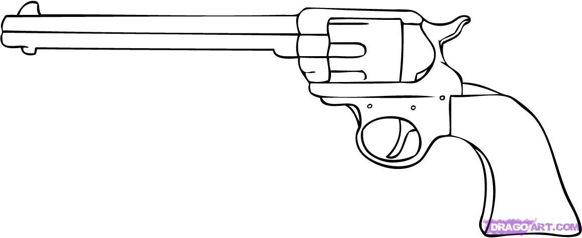 One Line Art Gun : Step by tutorial on how to draw a quot cartoon pistol