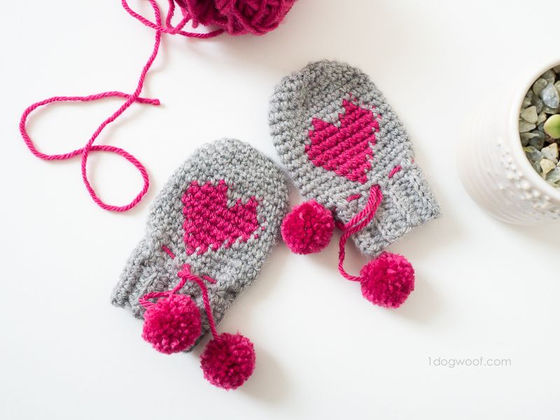 Baby Heart Mittens Valentine\'s Day Project | Guantes, Tejido y Bebe