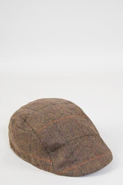 0411b81703202 Nelson Tan Check Tweed Flat Cap
