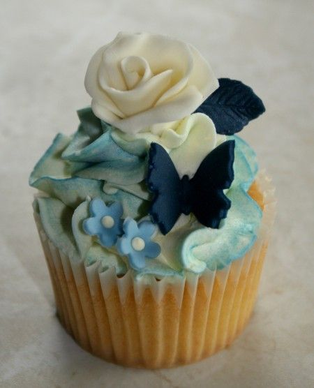 Ivory Rose, Blue Butterfly Cupcake